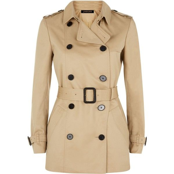 Jaeger Jaeger Double-Breasted Trench Coat ($225) ❤ liked on Polyvore featuring outerwear, coats, jackets, tops, casaco, brown trench coat, brown double breasted coat, trench coat, double-breasted trench coat and jaeger coat