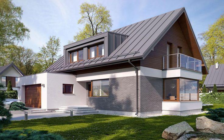 #projekt #domu Nowoczesny dom parterowy z poddaszem użytkowym i dwustanowiskowym garażem. Mimo tradycyjnej bryły przykrytej dwuspadowym dachem, dom prezentuje się oryginalnie i nowocześnie. Wnętrze jest przestronne i funkcjonalne. Pozwala na wiele możliwości aranżacji. Ciekawym rozwiązaniem jest wykusz w jadalni z dużymi przeszkleniami. Salon posiada przeszklone wyjście na zadaszony taras. Przez zastosowanie lukarny na poddaszu, pokoje pod nią mają niewiele skosów i pozwalają na ciekawe…