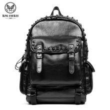 King and Kiss Black backpack men's PVC rock punk personality shoulder Back bag Lady large capacity 14 inch laptop bag #KK7022(China)