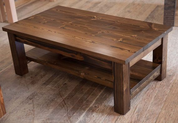 Solid Wood Coffee Table Rustic Coffee Table Farmhouse