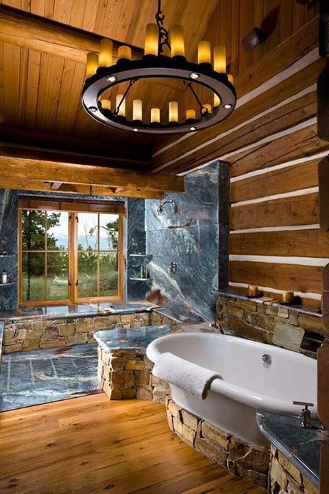 Here is a rustic bath with a view! What do you think about this?