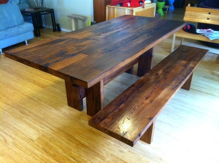 reclaimed barn wood dining table bench - Barnwood Kitchen Table