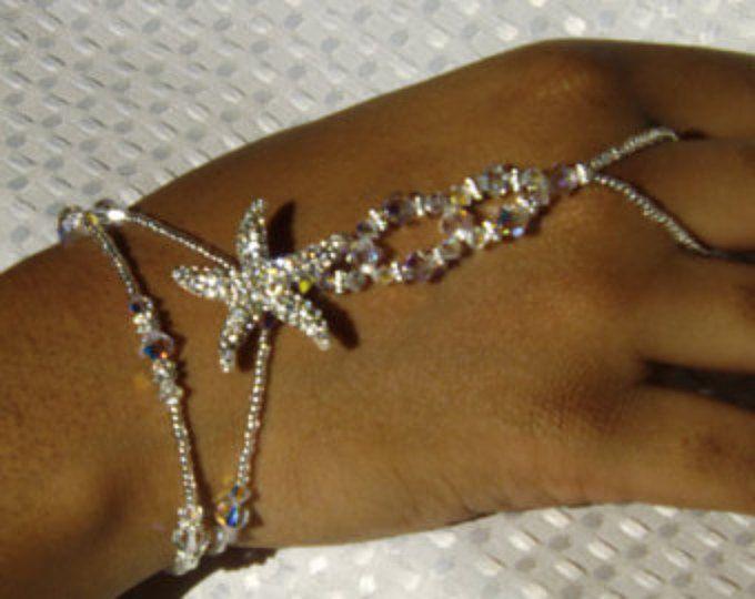Swarovski nuziale gioielli bracciale sposa gioielli Starfish gioielli Swarovski bracciale sposa mano gioielli spiaggia