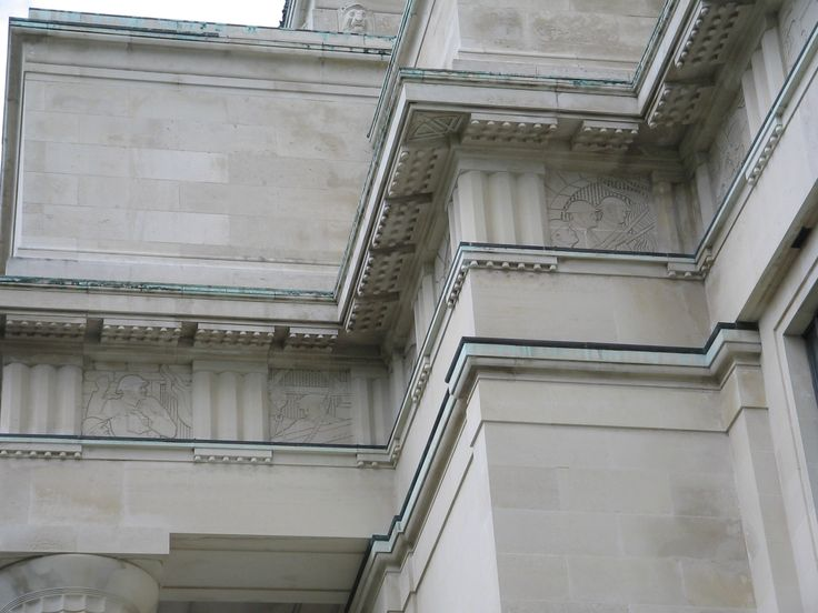 Part of the Entablature of Auckland Museum, War scenes are seen in the frieze
