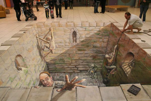 Julian Beever's 3D pavement drawings...