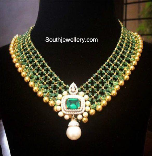 Beads Necklace with Diamond Pendant photo