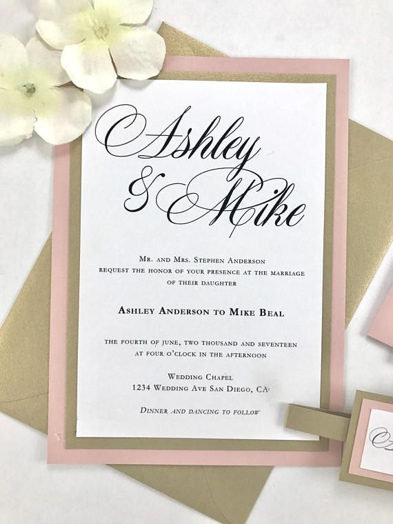Blush Pink And Gold Clic Traditional Wedding Invitations