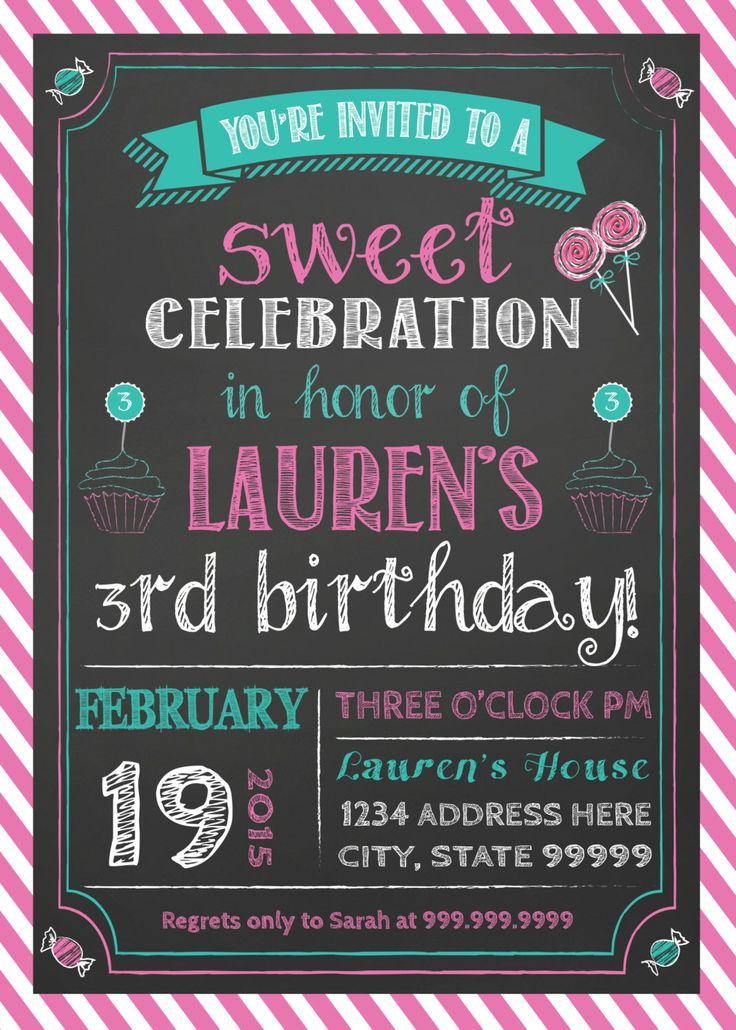 Birthday Invitation Sweet to be Candyland Candy