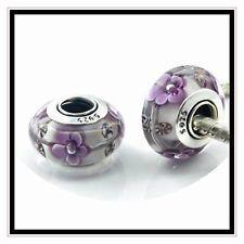One Pair...Pandora S925 ALE Purple Flowers Murano Beads.