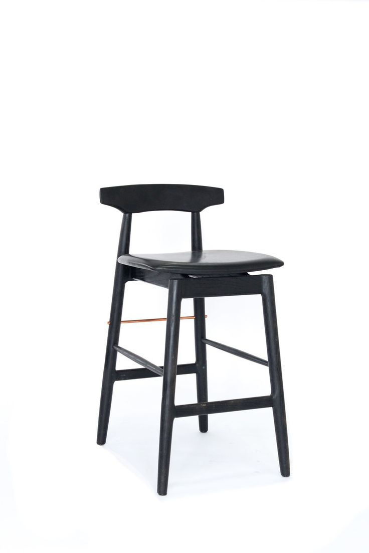 CHRIS EARL Wood High Stool in Ebonized Oak, Black Leather, and Copper Stretcher Rod