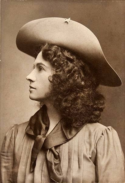 Annie Oakley! She was the first woman Buffalo Bill hired for his Wild West show and was a trailblazer who challenged stereotypes about women of the time. Not only could she out-shoot men, she was out-earning most of them. Oakley also used her celebrity to campaign for a woman's right to paid employment and equal pay.
