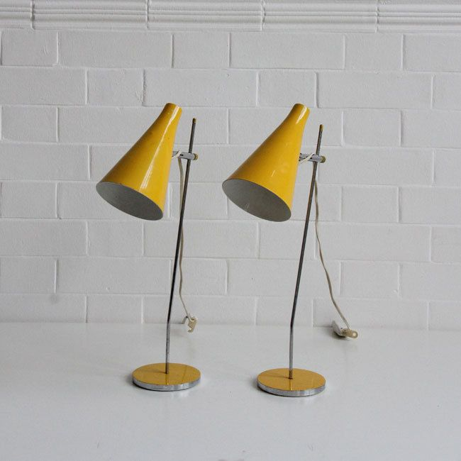 Josef Hůrka; Chromed and Enameled Metal Table Lamps, 1963.