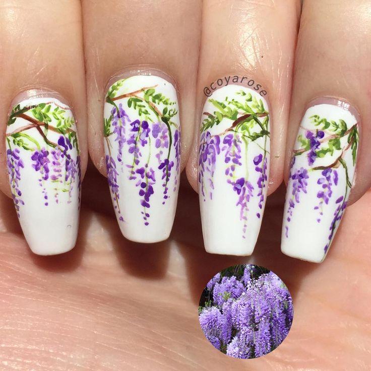 Spring wisteria floral nails nail art