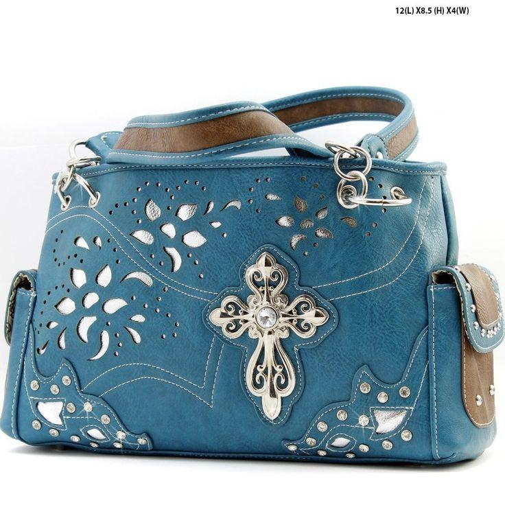 Tla_Blue_Western Rhinestone Cross Handbag Cowgirl Style Rhinestone Bling Purse in Handbags & Purses | eBay