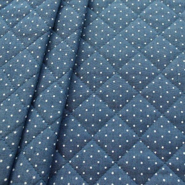 Steppstoff Wattiert Jeanslook Punkte Mini Jeans Blau Steppen Stoff Blau