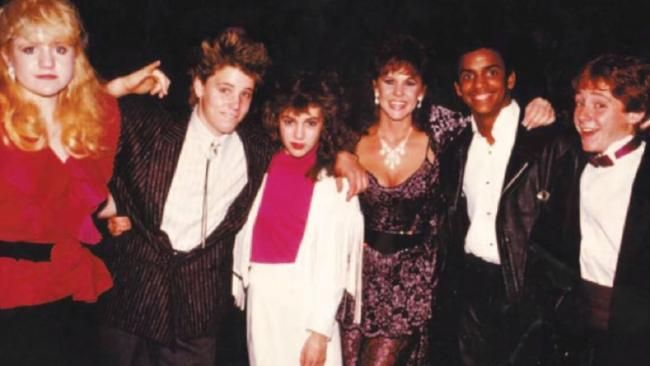 Just some of the stars at Soda Pop Club in 1988: The Exorcist actress Linda Blair [centre] and Scott Grimes, Alfonso Ribeiro, Alyssa Milano, Corey Haim and Tina Yothers.