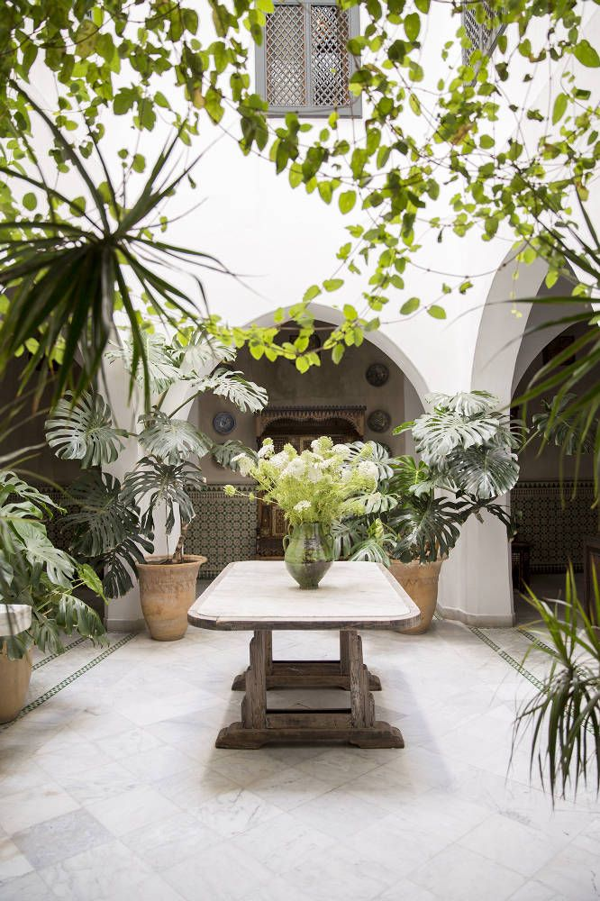 The hotel's inner courtyard offers solace and shade in the center of Tangier | domino.com