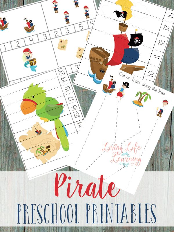 Free Pirate Preschool Printable Pack Download a free pirate preschool printable pack that includes counting cards, puzzles, and tracing sheets.