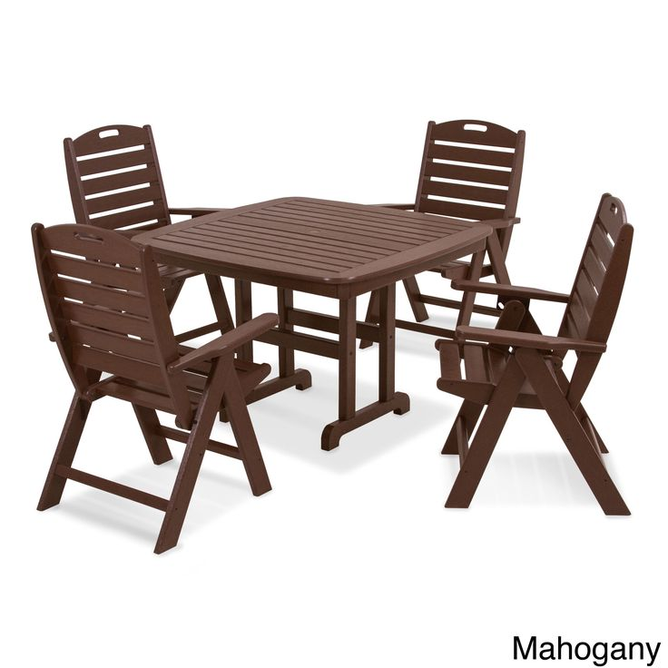 Nautical 5-Piece Dining Set (Mahogany), Brown, Size 5-Piece Sets, Patio Furniture