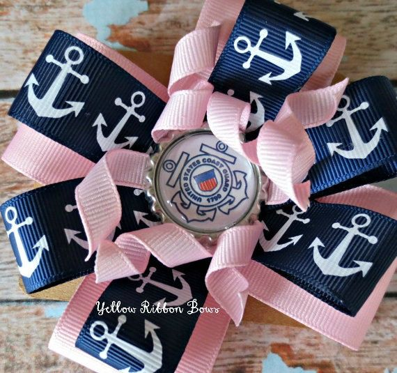 summer sale, USCG Coast Guard Inspired Navy and Baby Pink Anchor Bow