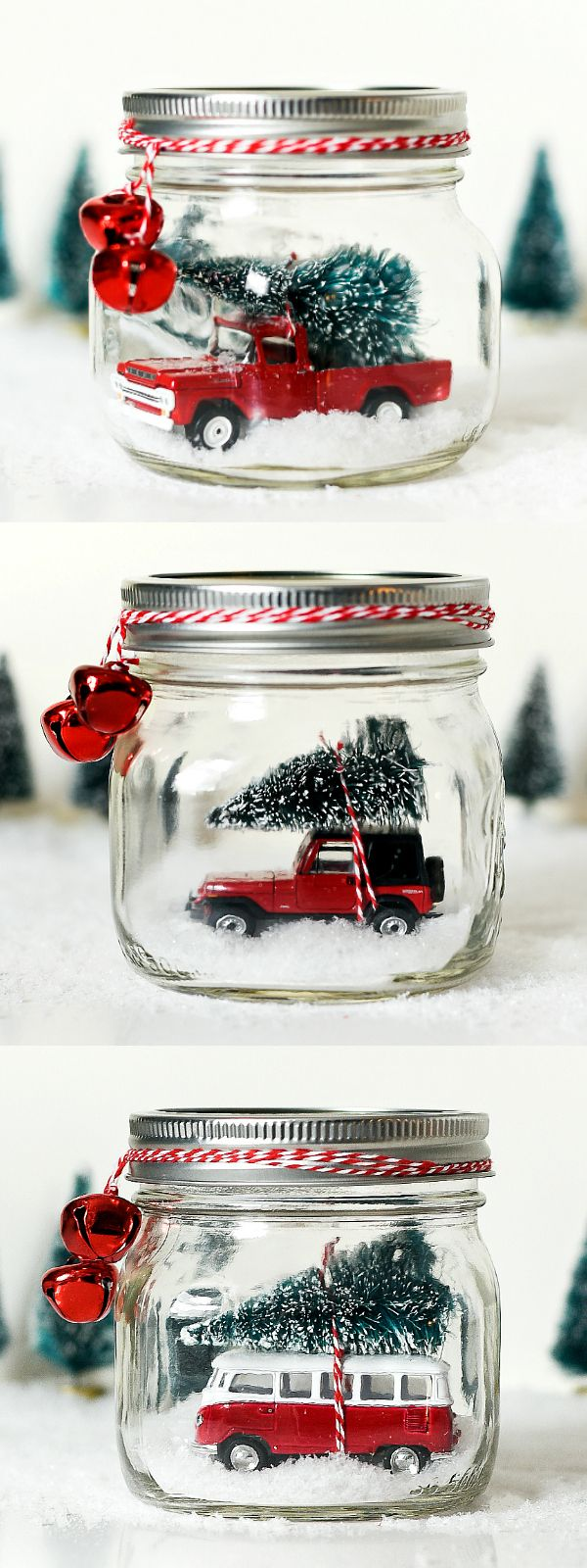 Mason Jar Snow Globe with Vintage Jeep Wrangler - Vintage Red Pick Up Truck Mason Jar Snow Globe - Vintage VW Bus Snow Globe