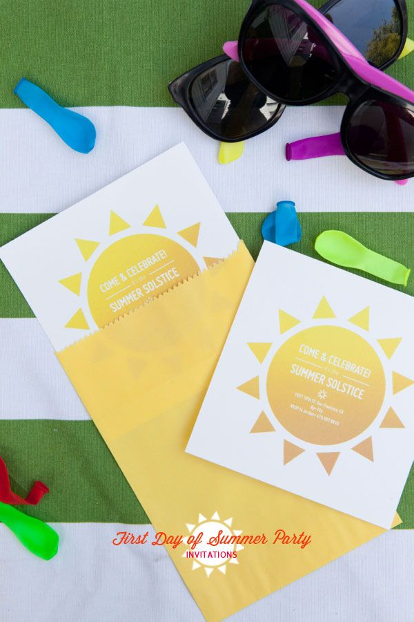"Kick off summer with a party! Grab this Printable ""First Day of Summer"" Party Invitations to get started. 