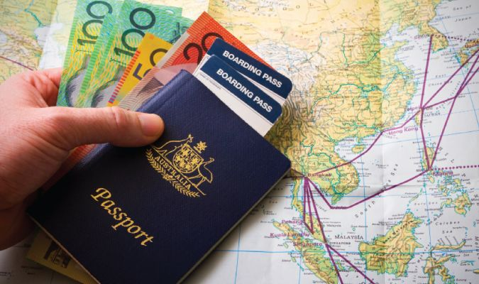traveling around world with a passport and money