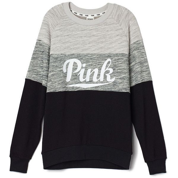 PINK Collegiate Crew (1,015 MXN) ❤ liked on Polyvore featuring tops, sweaters, shirts, victoria's secret, pink, pink crew neck sweater, crewneck pullover sweater, pink sweater, summer sweaters and pullover shirt