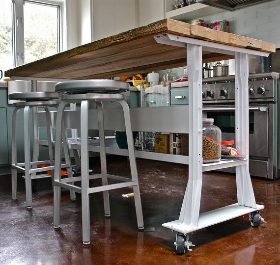 Industrial Kitchen Island Wood Top W/ Steel Base By LASalvageCo
