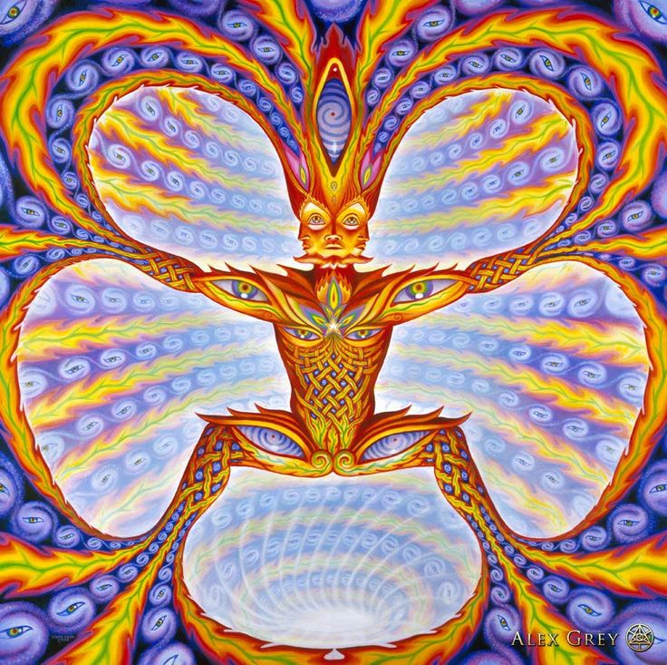 Have you ever met the Cosmic Elf? - 2003, oil on wood, 30 x 30 in. Alex Grey