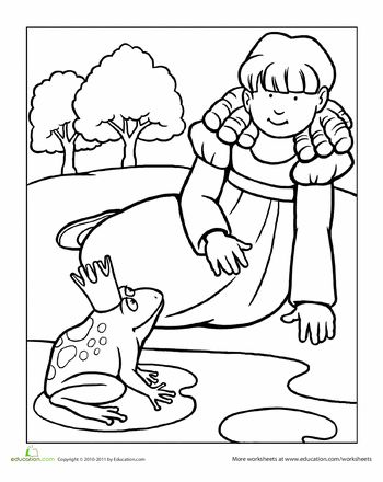 Worksheets: Color the Princess and the Frog