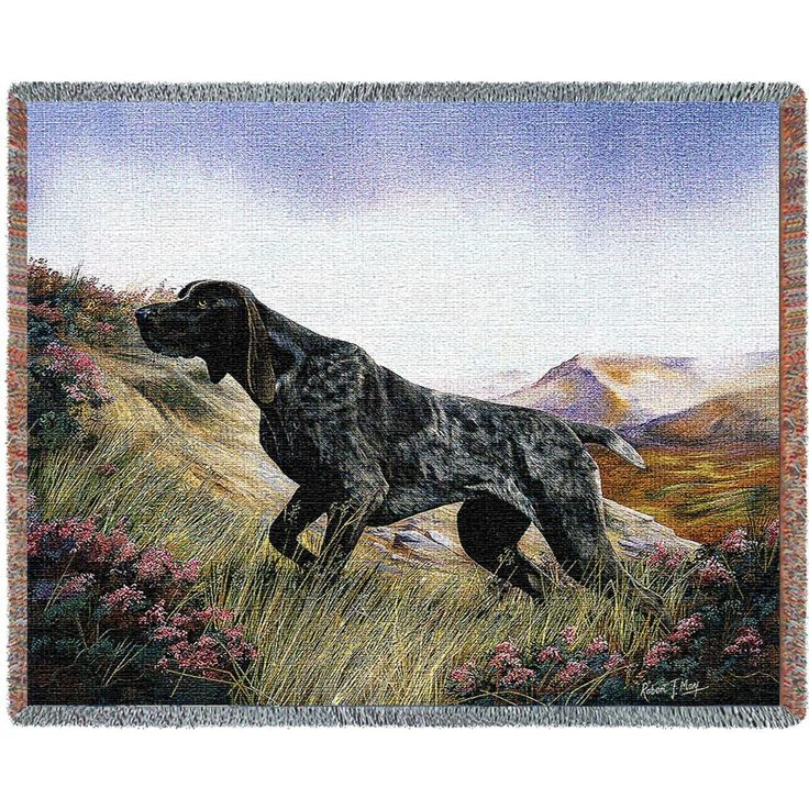 German Shorthaired Pointer Dog Art Tapestry Throw