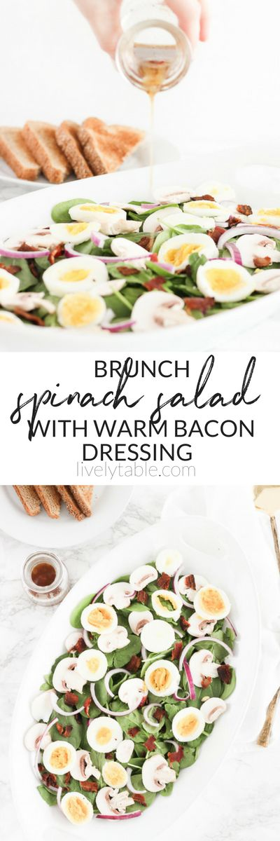 This delicious Brunch Spinach Salad Warm Bacon Dressing is a light, fresh brunch dish that will be a welcome addition to any breakfast or brunch spread! (#glutenfree, #dairyfree, #nutfree) via livelytable.com #spinach #salad #brunch #bacon