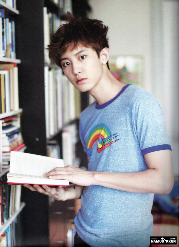 Chanyeol in a library. Okay, I'm sorry for fangirling and I swear I won't do it again, but he's so adorable!