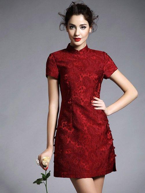 Wine Red Short Lace Qipao / Cheongsam Dress
