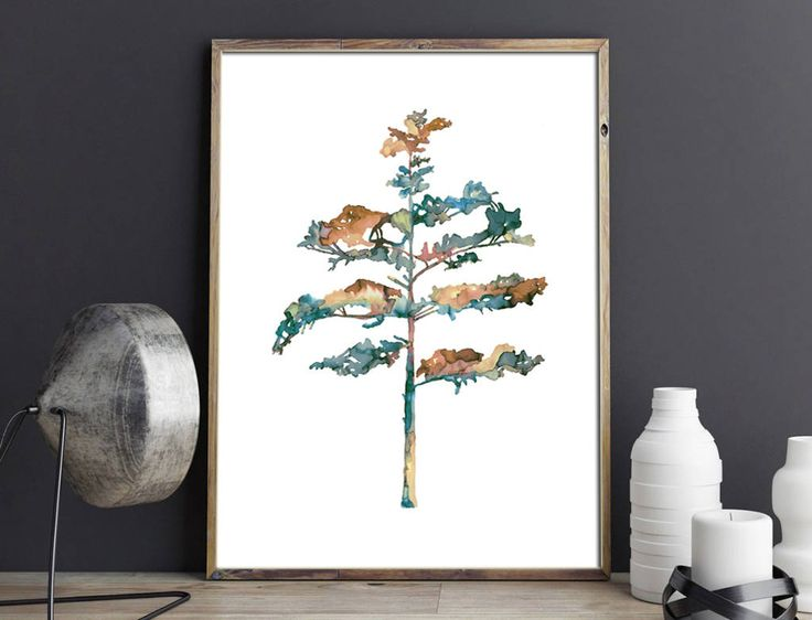 Pine tree #2 in blue - wall art - botanical print - natural decor by purdeybarcelona on Etsy