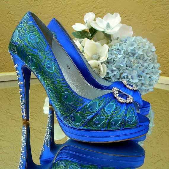Wedding Shoes Peacock feathers and crystals blue by norakaren, $290.00