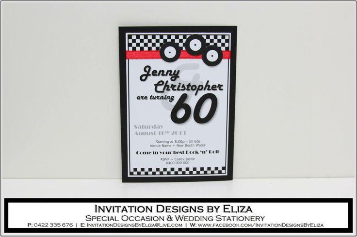 Invitation Designs  {60th Birthday} Black, White & Red Theme https://www.facebook.com/InvitationDesignsByEliza