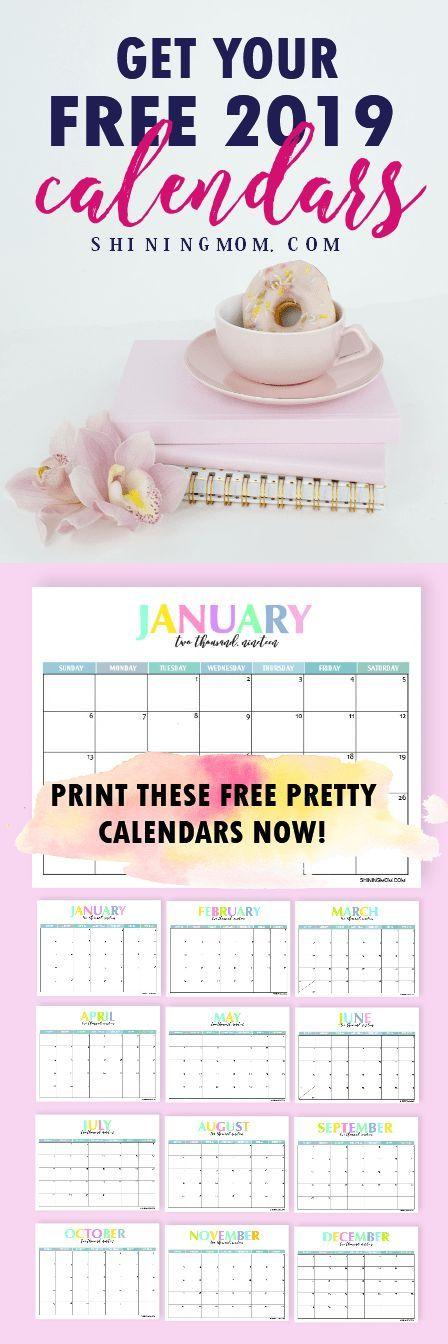 Free Printable 2019 Calendar Beautiful and Colorful! Printables