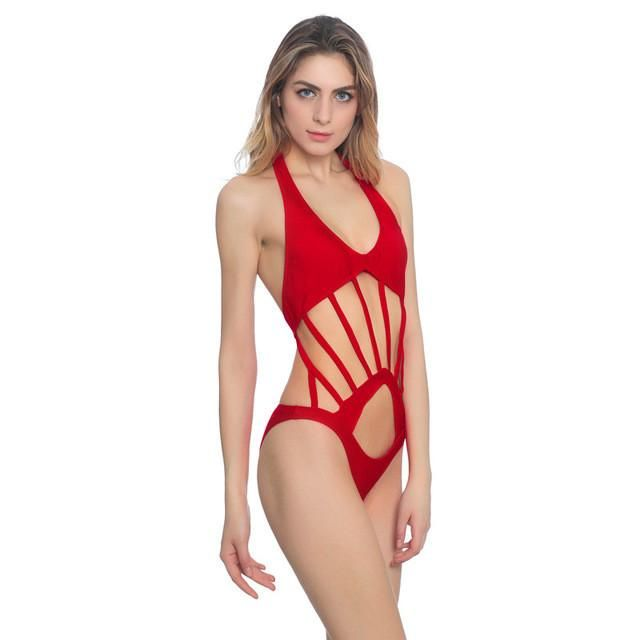 X-HERR Solid Hollow Out Women One Piece Swimsuit Backless Elastic Halter Tied Banadores De Mujer Quick Dry Sexy Pin Up Swim