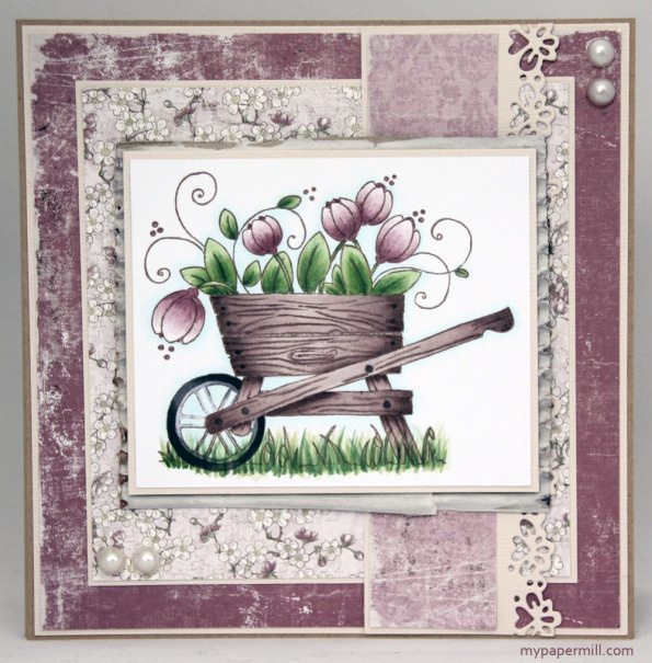 Birthday card using papers by Maja Design, image by Magnolia colored with Copics.