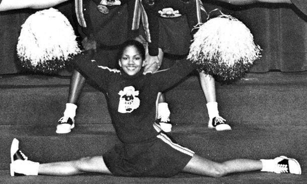Halle Berry waving  pom-poms at Heskett Junior High School in Bedford, Ohio