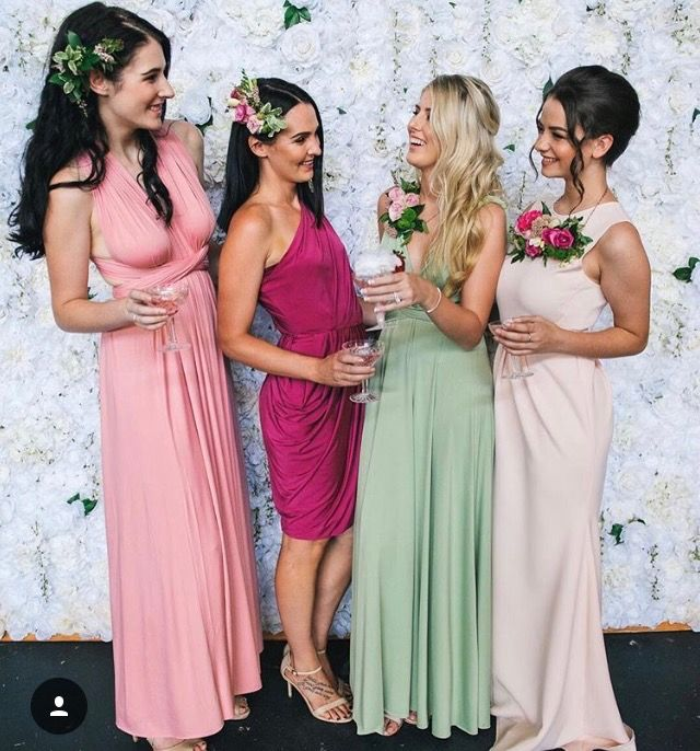 Mix and Match Colours and Tones. Love this beautiful spring combo of pinks and green. Available at Nora and Elle Bridesmaids.