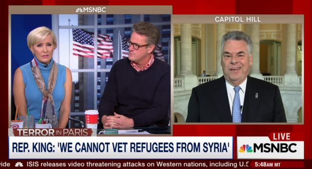 Rep. Peter King (R-N.Y) Calls Out MSNBC Host When She Disputes His Insider Claim That Syrian Refugees In U.S. Are NOT Vetted: 'You Are 1000 Percent Wrong!' - theblaze.com 11/17/15