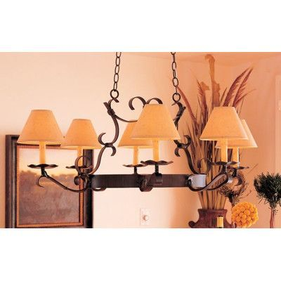 2nd Ave Design Handforged Oval 6-Light Shaded Chandelier Finish: Cameo Premium, Shade: Taos Parchment