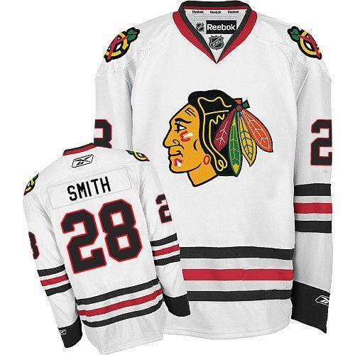Authentic Michael Jordan White Men's NHL Jersey: Chicago Blackhawks Reebok  Away