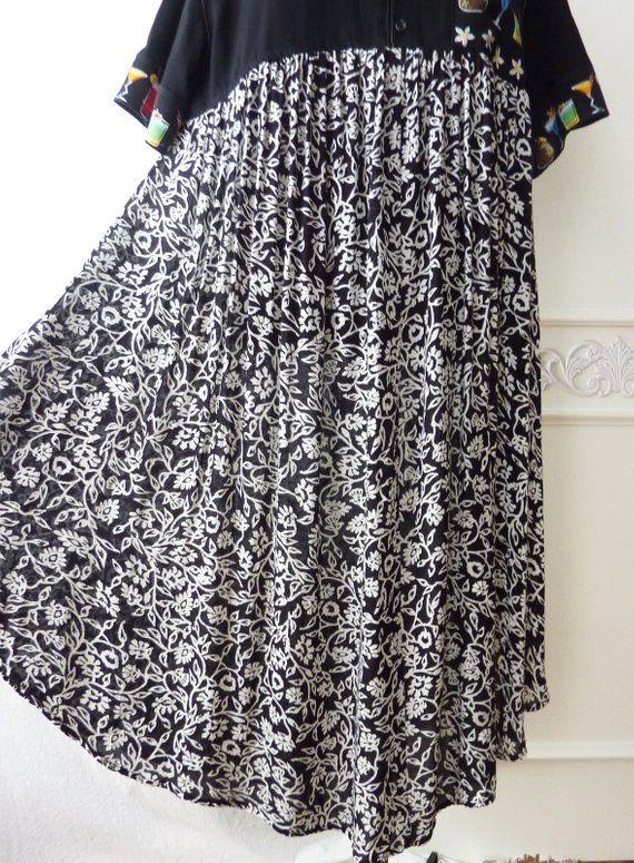 ea6eac17b Black & white oversize midi dress, asymmetrical, Upcycled clothing ...