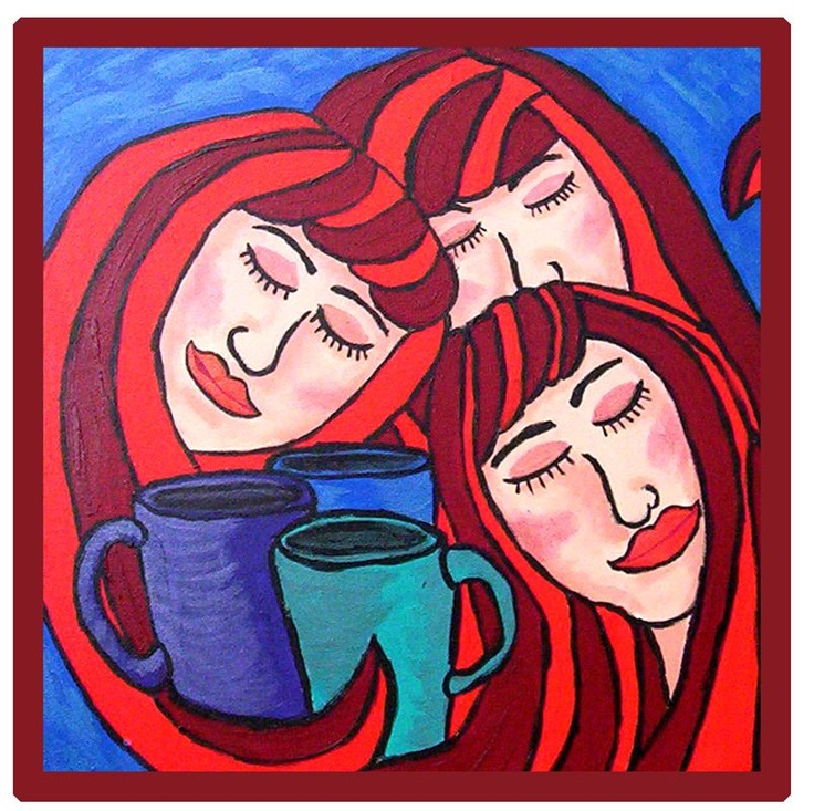 """Flying Margie - Art Work """"Sisterhood of the morning coffee"""" By Margie Thomas"""