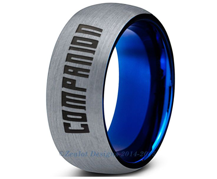 Dr Who Companion Tungsten Wedding Band Ring Mens Womens Brushed Dome Cut Blue Fanatic Geek Anniversary