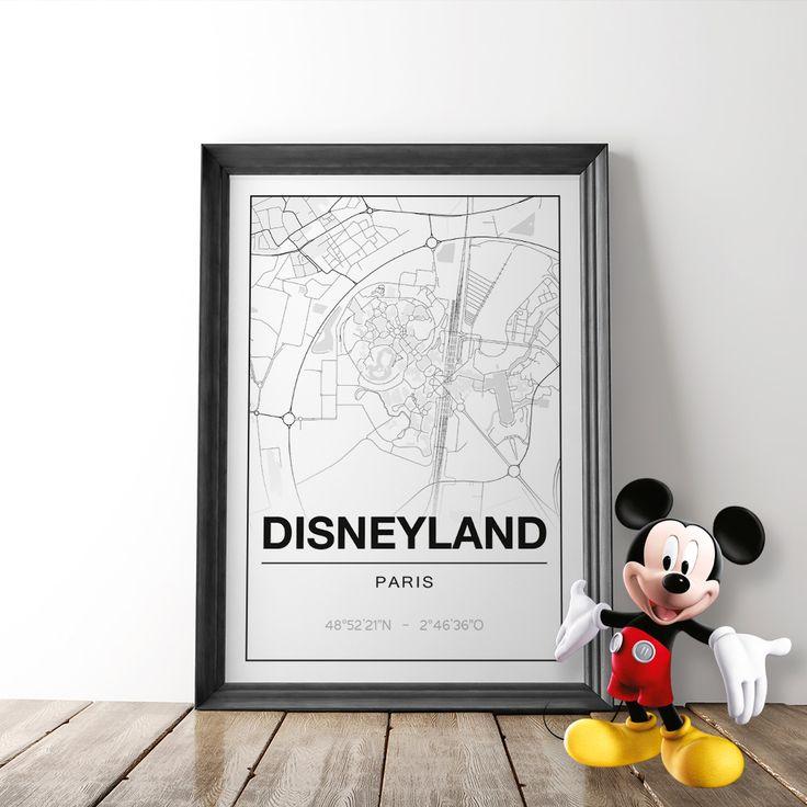 Disneyland Parijs Poster – Studio216 stedenposter mapart map Disney